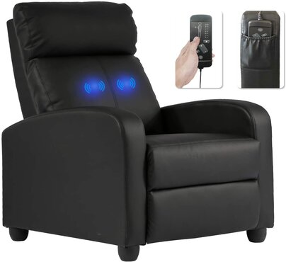 Reclining Chair Easy Lounge with PU Leather Padded Seat Backrest